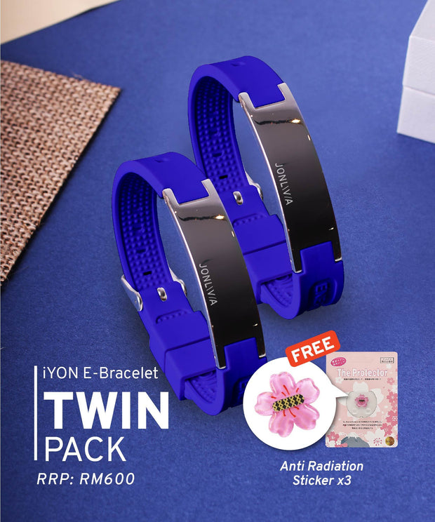 Twin Pack iYON E-Bracelet (NEW Energy Upgrade) - Blue + Blue