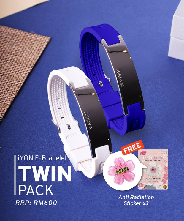 Twin Pack iYON E-Bracelet (NEW Energy Upgrade) - Blue + White