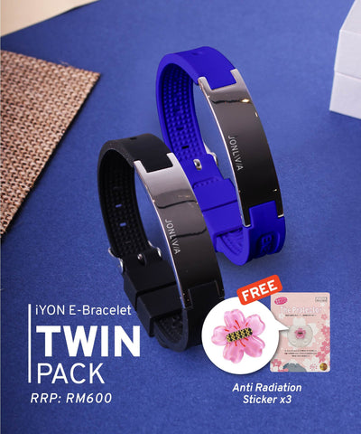 Twin Pack iYON E-Bracelet (NEW Energy Upgrade) - Blue + Black