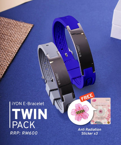 Twin Pack iYON E-Bracelet (NEW Energy Upgrade) - Blue + Grey