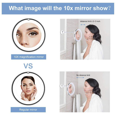 10x Magnifying Led Lighted Makeup Mirror Bathroom