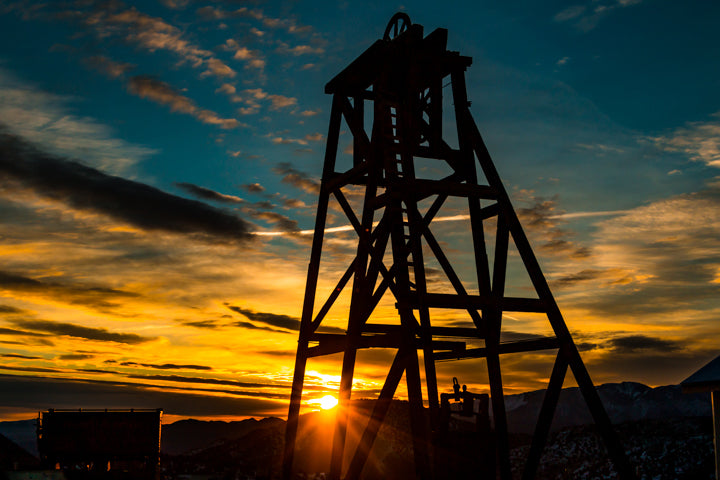 Virginia City Headframe Sunrise Peek.