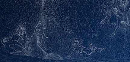 "The four mermaids in the wash from the breaching humpback whale constellation in the David Dory painting ""Star Breach at Sunken City, San Pedro"" used for the 2019 Los Angeles Fleet Week Poster."
