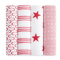 aden + anais RED limited edition 4 PACK CLASSIC SWADDLE