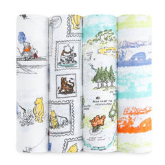 aden + anais disney baby classic swaddles winnie the pooh 4-pacK