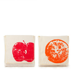Fluf Certified Organic Cotton Snack Bag 2 Pack - Apple & Orange