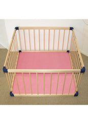 Kiddycots - Deluxe Wooden Playpen With EVA Play Mat - Pink