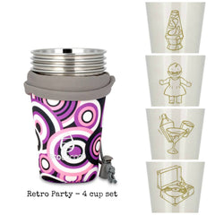 Ecococoon stainless steel cup set (4 cups + pouch) - Retro Party
