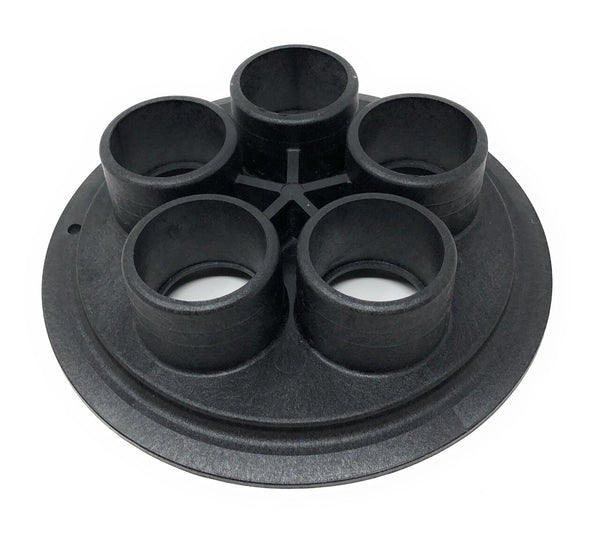 "Caretaker 99 5-Port Bottom Plate 1.5"" Plumbing Housing (Black) - ePoolSupply"