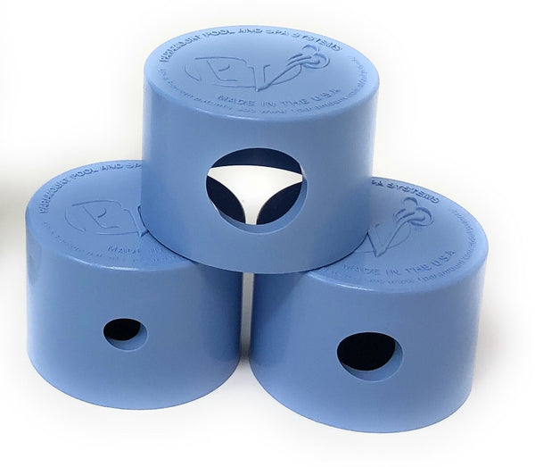 Paramount PV3 Twist Lock Step Nozzle Caps 3 Piece (Lt. Blue) - ePoolSupply