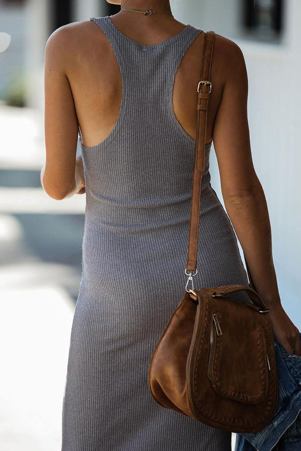 Summer Ribbed Knit Midi Dress