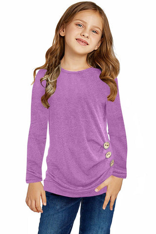 Little Girls Long Sleeve Buttoned Side Top