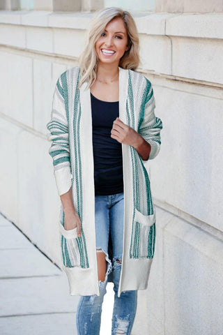 Pocketed Cotton Blend Cardigan