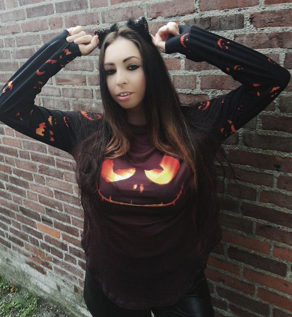 Halloween Theme Long Sleeve Pullover Top