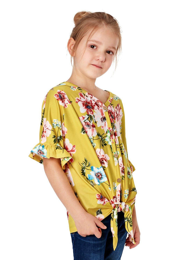 Floral Print Button Up Toddler Tunic - L & M Kee, LLC