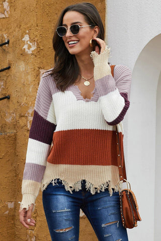 Colorblock Distressed Sweater