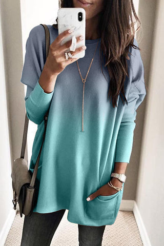 Ombre Blue Color Block Pocketed Side Long Top