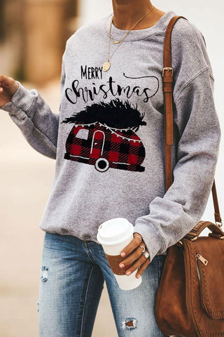 Merry Christmas Letters Print Pullover Sweatshirt - L & M Kee, LLC
