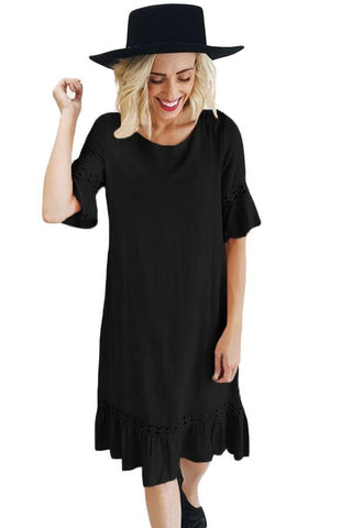 Half Sleeves Wide Ruffle Hem Midi Dress