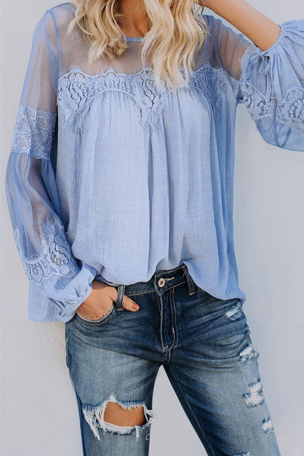 Fashion Lantern-Sleeve Lace Patchwork Top