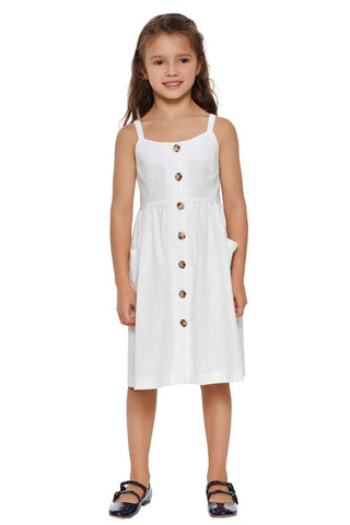Little Girls Spaghetti Strap Button Dress with Pockets