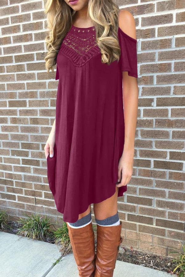 Lace Hollow-out Cold Shoulder Casual Dress - L & M Kee, LLC
