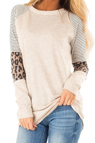 Khaki Striped and Leopard Color Block Sleeves Top