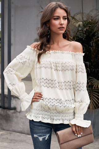 Off Shoulder Ruffle Long Sleeve Smocked Waist Lace Crochet Blouse