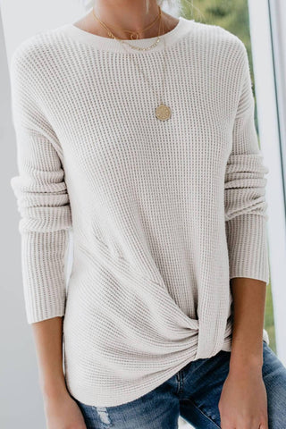 Beige Knot Your Girlfriend Thermal Knit Top