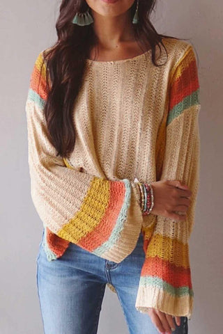 Colorblock Bell Sleeve Lightweight Sweater
