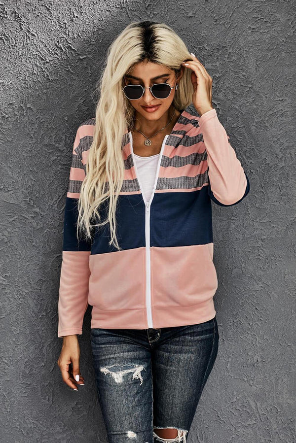 Striped Color Block Drawstring Zip Front Hoodie - L & M Kee, LLC