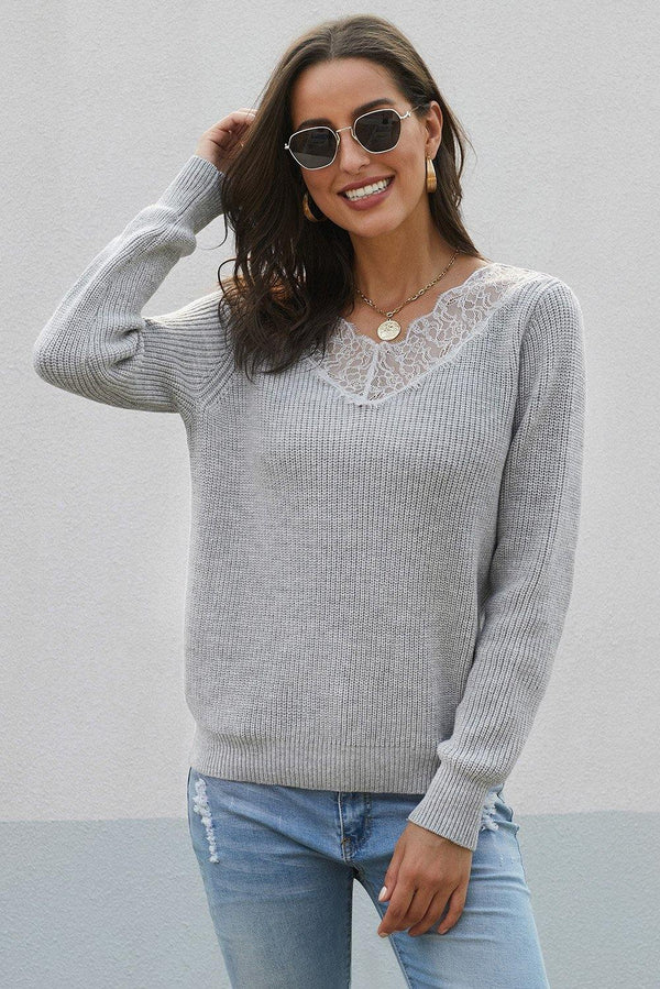 Lace Collar V Neck Ribbed Sweater