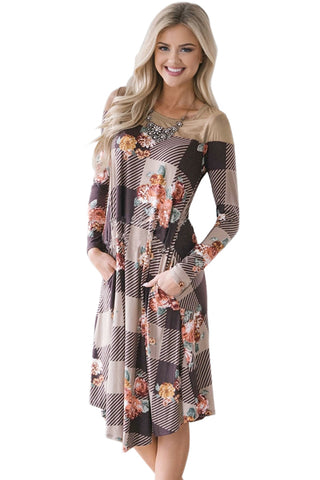 Floral Checked Long Sleeve Casual Midi Dress