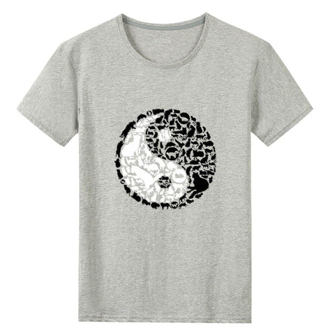 Cat Yin/Yang - Gildan 76000 Cotton T-shirts