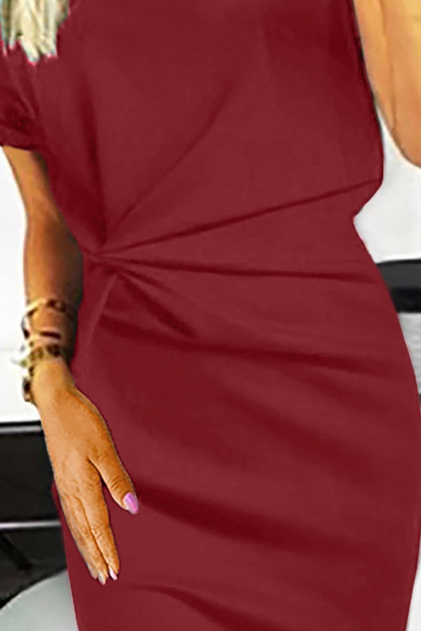 V Neck Cutout Inverted Pleat Bodycon Dress