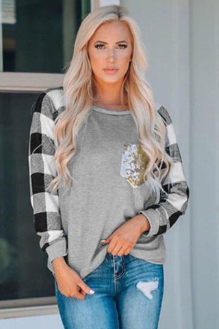 Plaid Splicing Sequined Pocket Long Sleeve Top