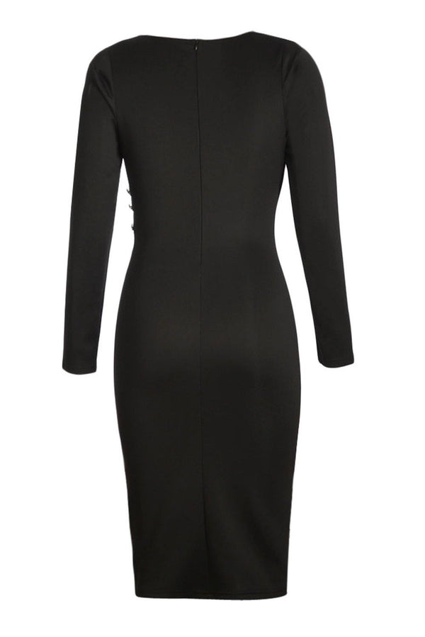 Asymmetric Button Detail Black Ruched Midi Dress - L & M Kee, LLC