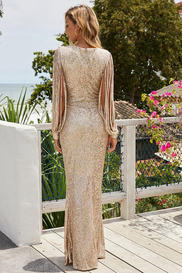 Sequin Fringe Sleeve Party Maxi Evening Dress - L & M Kee, LLC