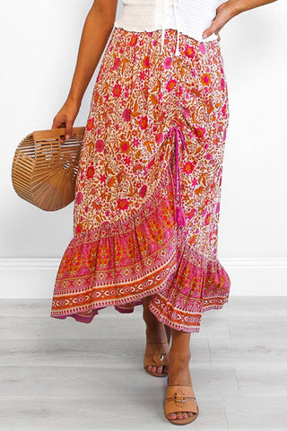 Floral Motif Talking Pretty Maxi Skirt