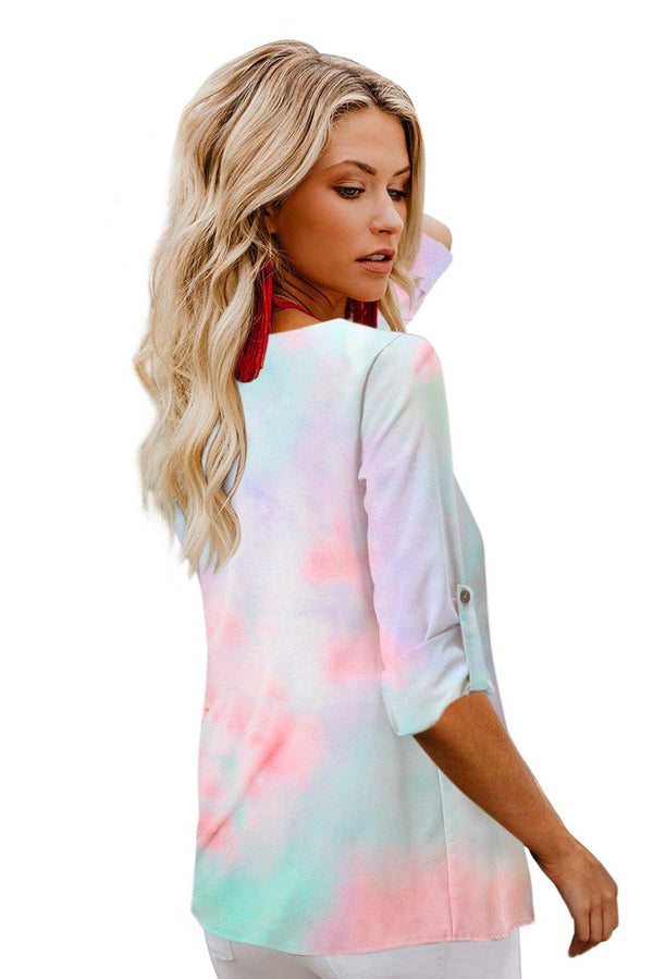 V-neck Long Sleeve Tie-dye Blouse With Buttons Closure - L & M Kee, LLC