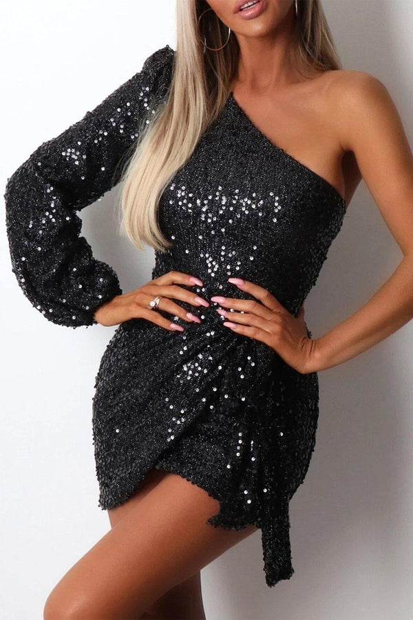 One-shoulder Lantern Sleeve Sequins Tied Waist Mini Dress - L & M Kee, LLC