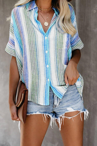 Bluish Happier With You Striped Button Top
