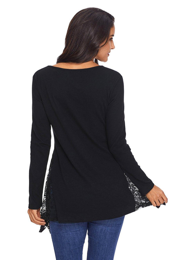 Graceful Lace Inset Side Black Womens Top