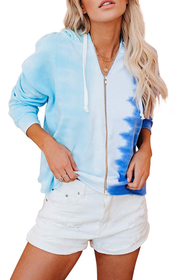 Zipper Drawstring Tie Dye Color Block Hoodie - L & M Kee, LLC