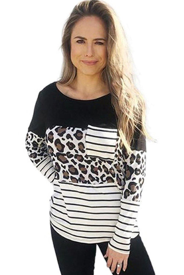 Striped Patchwork Long Sleeve Top with Pocket - L & M Kee, LLC