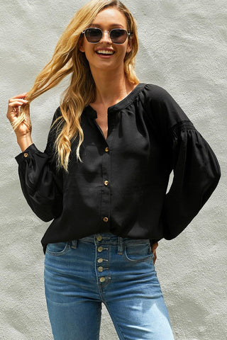 Inspired Button Down Peasant Top