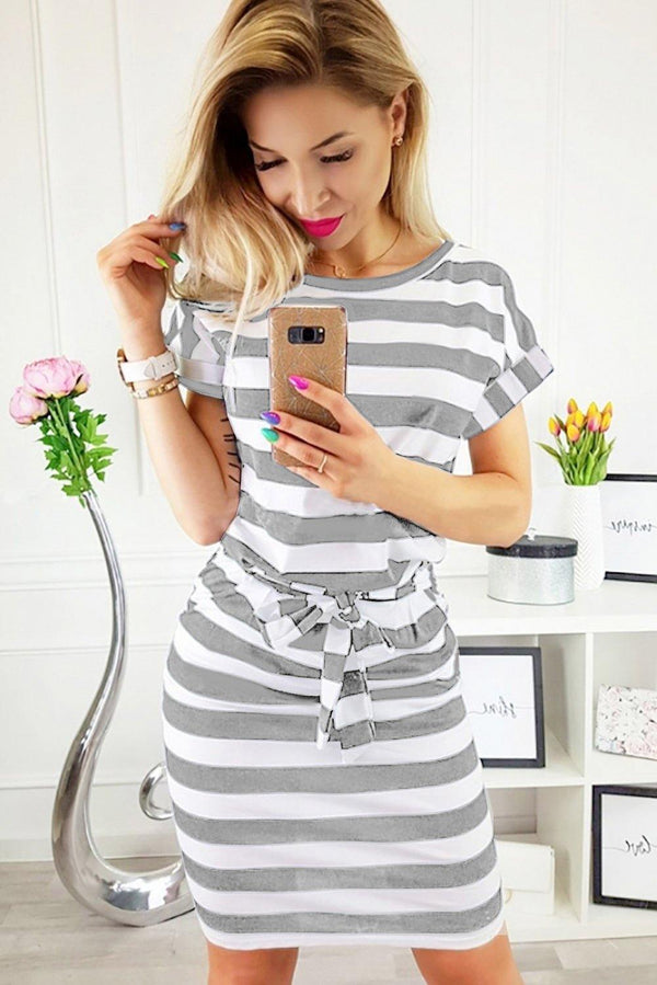 Stripes Pocketed T-shirt Dress with Belt