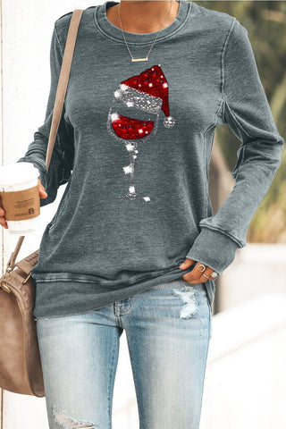 Christmas Hat Wine Glass Print Sequins Sweatshirt