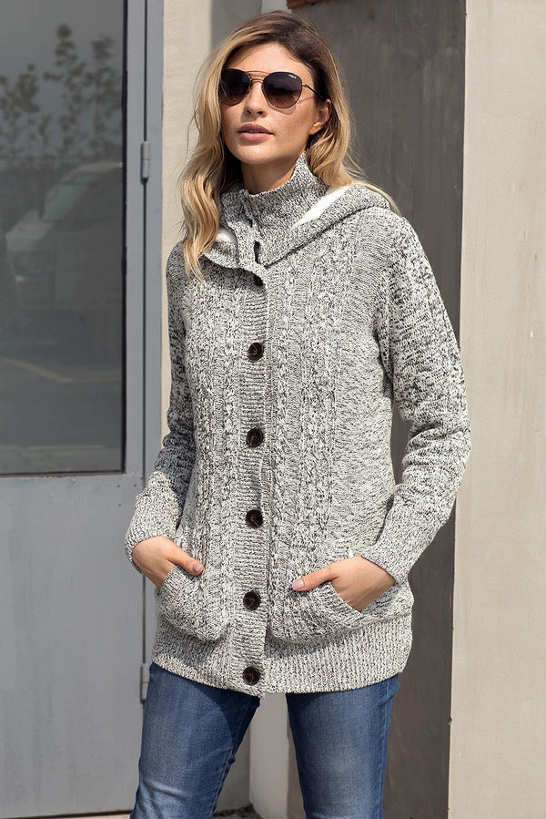 Dark Gray Long Sleeve Button-up Hooded Cardigans - L & M Kee, LLC