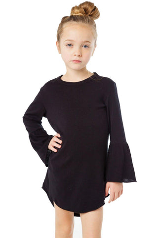 Flared Long Sleeve Shirttail Baby Girl Dress